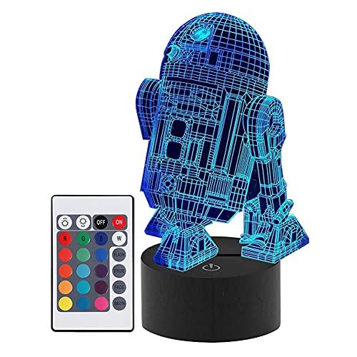 Artline 3D LED noche luz colorida Robort modelo táctil remoto lámpara de mesa decoración de habitación