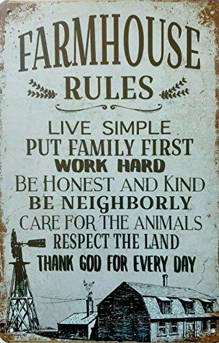 AMELIA SHARPE Letrero de metal vintage de 30,48 x 20,32 cm, diseño de reglas de la casa de granja