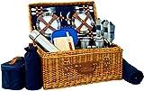 Picnic Basket Set Deluxe | Marshall Collection | 4 Person Coffee Service Set | Picnic Hamper Set Waterproof Picnic Blanket Ceramic Plates Metal Flatware Wine Glasses Bottle Opener | Vacuum Flask