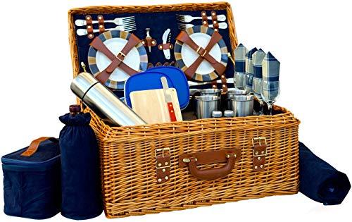 Picknickkorb-Set Deluxe | Marshall Collection | 4 Personen Kaffeeservice Set | Picknickkorb Set Wasserdicht Picknickdecke Keramikteller Metallbesteck Weingläser Flaschenöffner | Vakuumflasche