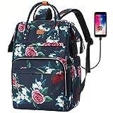 Sac à Dos Femme,Sac à Dos Ordinateur Portable 15,6 Pouces Avec Port de Chargement USB et Poche RFID Pour Collège,école,Travail,Voyage(Fleur)