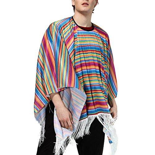 SOIMISSDisfraz Mexicano de Halloween para Hombre Disfraz de México Disfraz de Fiesta Elegante Manto Colorido (Patrón 2)