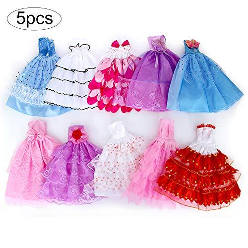Hemore 5 PCS Handgemachte Neuheit Kleider Hochzeit Kleid Kleider Kleidung -Puppe (Random Farbe / Art) Sehr erschwinglich Modepuppen und Zubehör