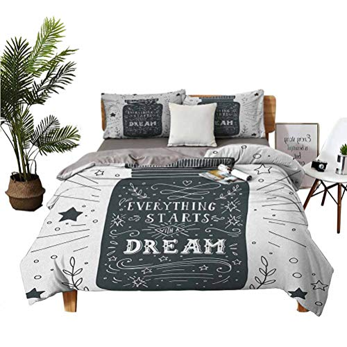 LANQIAO Queen Duvet Everything Stars with a Dream on a Jar with Circles and Stars Background,Provide for Teenage Boys 89x89 inch