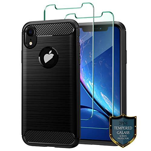 J Jecent Funda iPhone XR + Protector de Pantalla iPhone XR [2 Piezas], Carcasa [Textura Fibra de Carbono] Silicona TPU Case de Protección [Antideslizante] [Anti-Golpes] Cover para iPhone XR - Negro