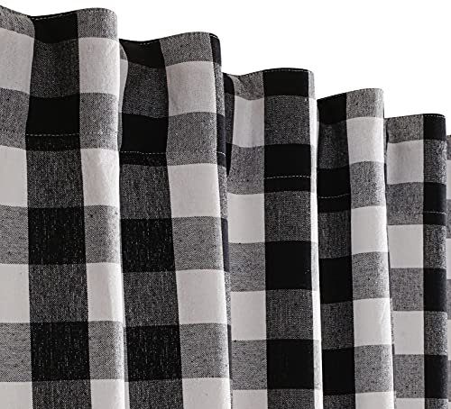 Farmhouse Curtain in Gingham Plaid Check Fabric 50x84 Black & White,Cotton Curtains, 2 Panels Curtain,Tab Top Curtains, Room Darkening Drapes, Curtains for Bedroom, Curtains for Living Room, Set of 2