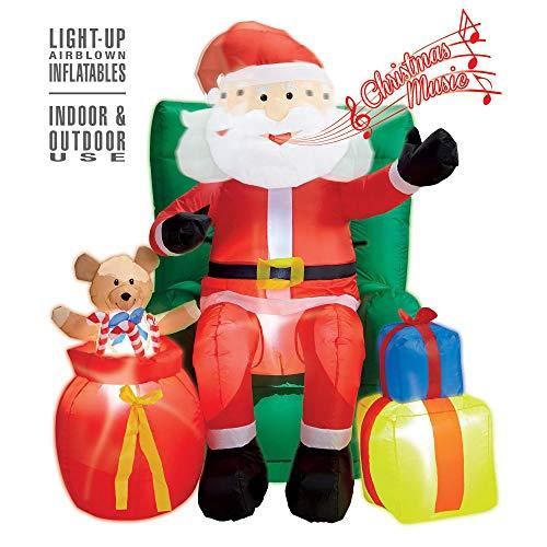 Widmann 75046 – Uppblåsbar, lysande jultomte, med fåtölj och gåvor, 122 cm