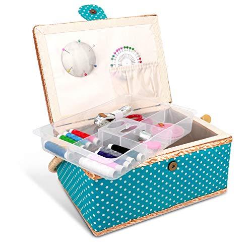 Caja de costura Navaris completa - Caja de costura 24,5 cm x 17,5 cm x 12,5 cm - Kit de costura 76x Accesorio - con asa - Patrón de costura