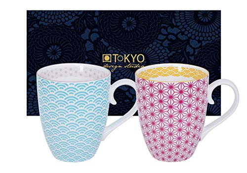 TOKYO design studio Star Wave - Tazas, Porcelana, carbón, 380ml (2er Set I)