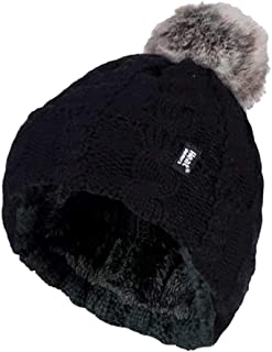 Heat Holders - Ladies Cable Knit Fleece Lined Thermal Winter Bobble Pom Pom Hat