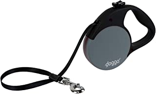 Doggo Everyday Retractable Dog Leash with Soft Grip Handle and 110 lb. Support, Gray/Black, Large