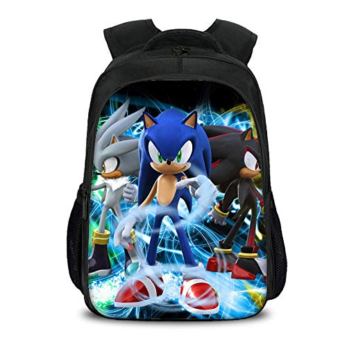 Sonic The Hedgehog Backpack Lightweight Cute CampingTrekking Backpack Outdoor Sport Travel Laptop Daypack Hiking Bag for Boy and Girl Schoolbag Kids (Color : A05, Size : 27 X 17 X 40cm)
