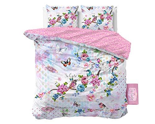 SLEEP TIME Bettwäsche Vögel, 200cm x 200cm, Mit 2 Kissenbezüge 80cm x 80cm, Bunt