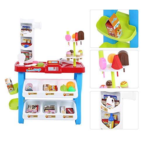 Kinderen Winkelen Speelgoed Speelset - Rollenspel Voor Kinderen - Gesimuleerde Supermarkt - Elektronische Kassa - Winkelwagen - Fantasieset - Met Snacks, Ijs(Kleurrijk)