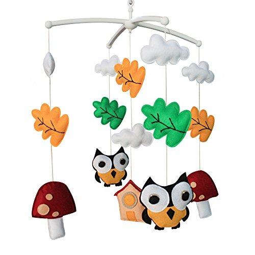 Jouets éducatifs Décor de chambre d'enfant Design cousu à la main décoration de lit de bébé cadeau mobile pour nouveau-né Mobile musical pour 0-1 ans (Zoo)