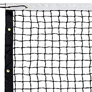 """Crown Sporting Goods Standard Tennis Net with Winch Cable - 42"""" Plastic-Coated & Vinyl Netting - Full Size Replacement Sports Equipment for Indoor and Outdoor Tennis Courts - Carrying Bag Included"""