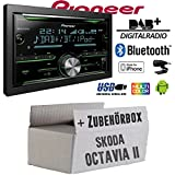 Pioneer FH-X840DAB 2-DIN - Bluetooth | DAB+ Digitalradio | CD | USB | Spotify für iPhone | Autoradio - Einbauset für Skoda Octavia 2 1Z - JUST SOUND best choice for caraudio