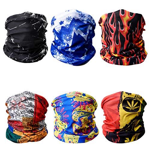 LAOYE 6 Stück Bandanas Multifunktionstuch Schal Motorrad Mundschutz Halstuch Schlauchschal atmungsaktiv, Gesichtsmaske Kopftuch Kopfbedeckung elastisch für Sport Radfahren Motorrad, für Herren Damen