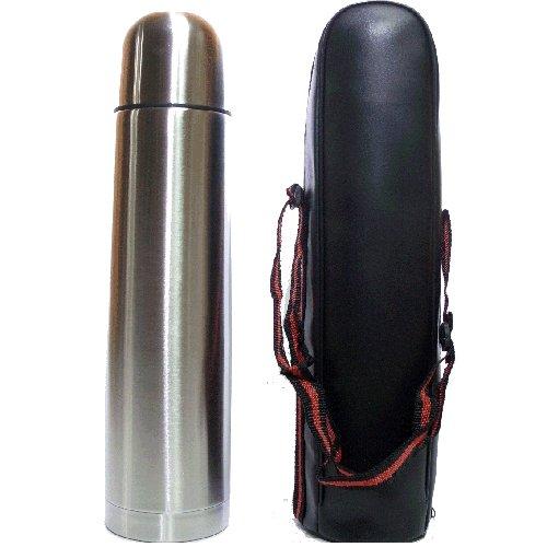 Termo de acero inoxidable con dosificador, tapa y funda de transporte - 1 LITRO