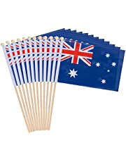 12-Piece Australia Stick Flags - Australian Hand-held Flags, Polyester Country Stick Flag Banners, Decorations for Parties, Parades, Sports Events, and International Festivals- 5.5 x 8.3 Inches