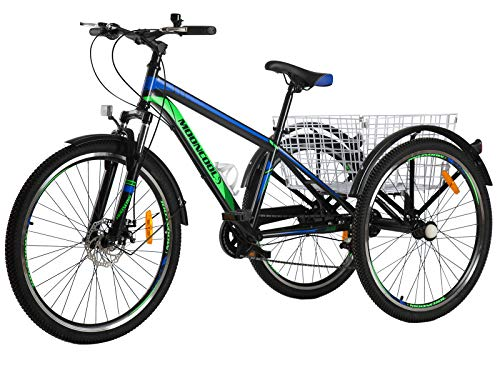 """Barbella Adult Mountain Bike, 7 Speed Three Wheel Mountain Tricycle Cruiser Trike with Shopping Basket for Exercise Men and Women (Black - Blue+Green, 26"""" Tire)"""