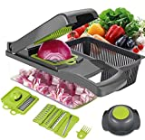Ear&ear Food Chopper 12 in 1 Onion Chopper Vegetable Slicer Dicer, Potato Fruit and Cheese Cutter, Adjustable Kitchen Tool with Multifunction Blades Choppers Slicer(Food Grade)
