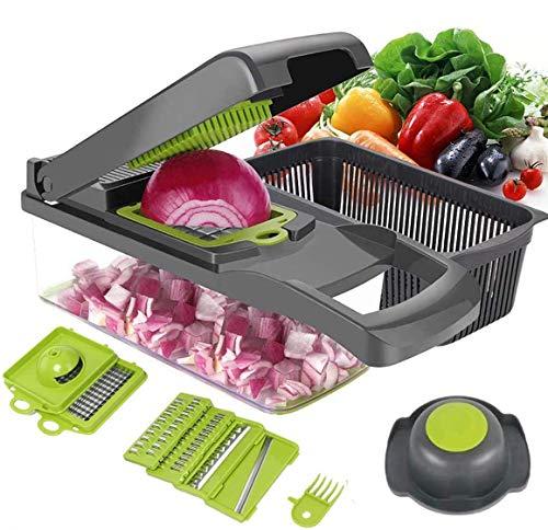 ear&ear 12 in 1 Gemüseschneider Küchegeräte,Obstschneider kartoffelschneider,Gemüsehobel Zwiebel Zerkleiner,Obst und Gemüseschneider Zwiebelschneider