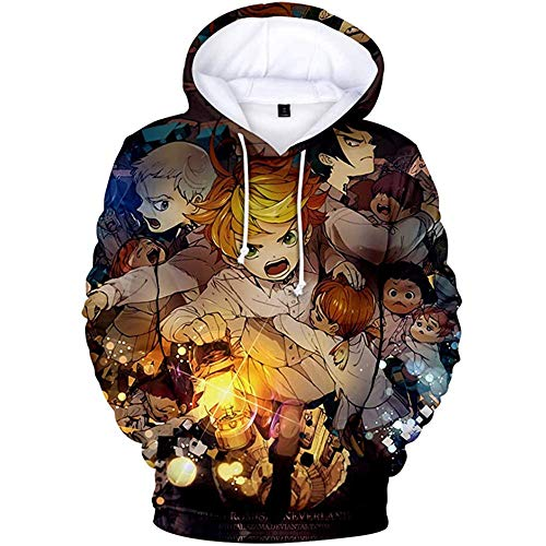 The Promised Neverland Sweat à Capuche pour Enfants, Sweat-Shirt Anime Emma Norman Ray imprimé en 3D Haut à Manches Longues Costume Cosplay Sweatshirts pour Hommes Femmes garçons Filles