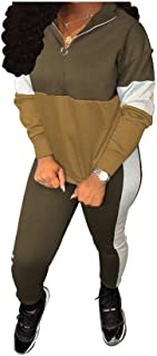 Howely Womens 1/4 Zip Hood 2 Piece Colorblock Stylish Sportswear Set Activewear