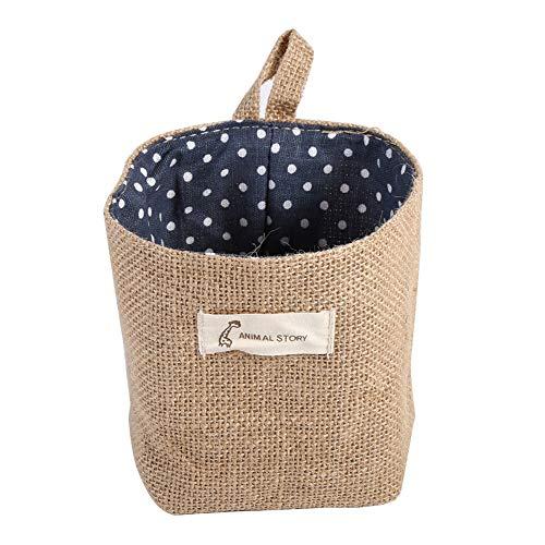 Mini opbergtas, eenvoudige katoen linnen hangende box cilindervorm pastorale stijl gestippelde voering doek duurzaam met een string muur deur kast home gadget organizer