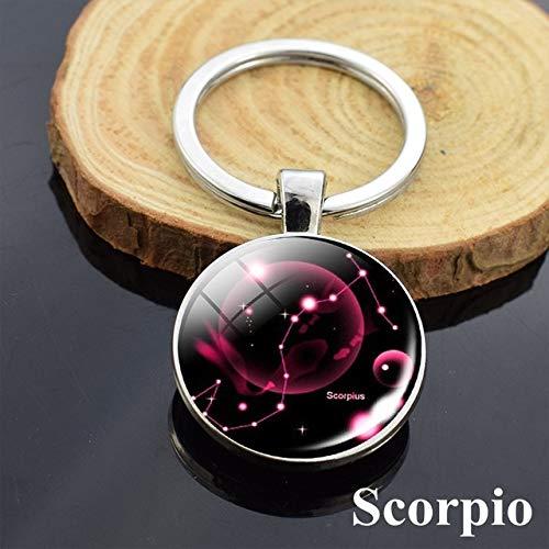 DSBN Sleutelhanger mode 12 sterrenbeelden sleutelhanger Astrologie Pendnat Double Side Constellation Kunst metaal sleutelhanger autosleutel ring schorpioen