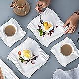 MALACASA, Serie Amparo, 18 teilig Set Porzellan Kaffeeservice Dessertteller Kaffeetasse mit Untertasse für 6 Personen - 2