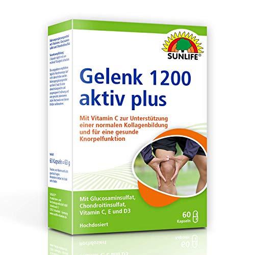 SUNLIFE Gelenk 1200 aktiv plus: Unterstützung normaler Kollagen-Bildung & Knorpelfunktion, mit Vitamin C, 60 Kapseln
