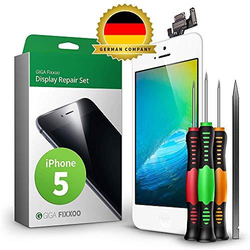 GIGA Fixxoo Ersatz Bildschirm | Reparaturset | Display Set geeignet für iPhone 5, Komplett Weiß, Retina LCD Glas mit Touchscreen, inkl. integrierte Frontkamera & Werkzeug