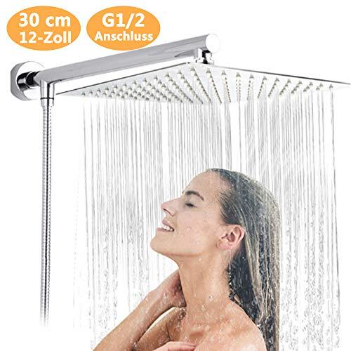 Kopfbrause Regendusche, 12 Zoll 30 cm Quadratisch Regendusche Duschkopf, Einbauduschköpfe aus SUS304 Edelstahl, poliert Spiegeleffekt regenwaldduschkopf für Duschsystem Regendusche