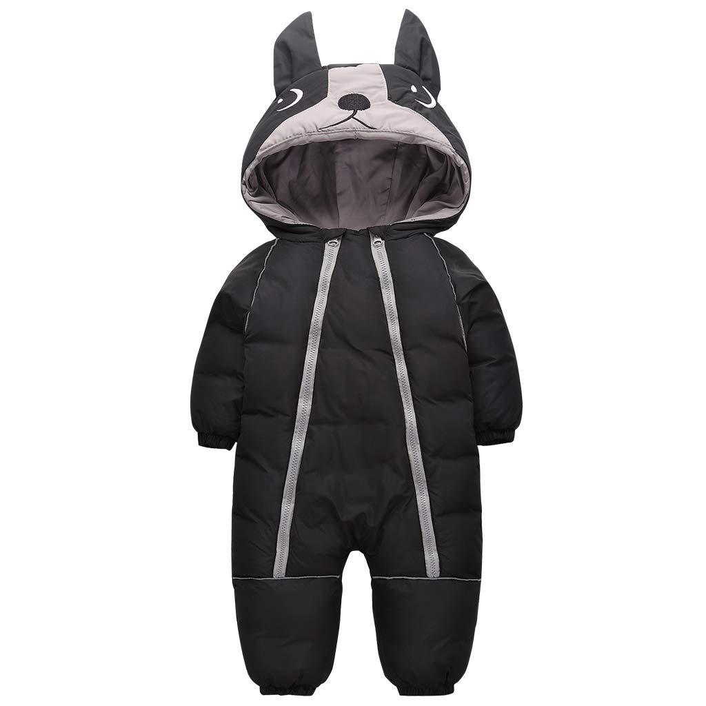 Baby Snowsuit Romper Infant Winter Hooded Jumpsuit Boys Girls Snow Wear Thick Warm Outwear Black 9-12 Months