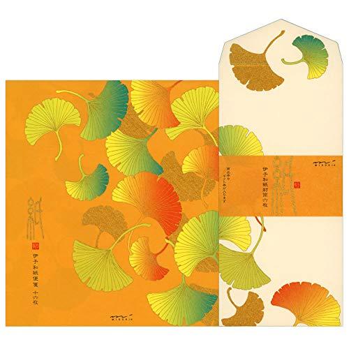レターセット 秋柄 シルク いちょう柄 85255/85256 (14) 「紙」シリーズ 伊予和紙 便箋16枚・封筒6枚 銀...