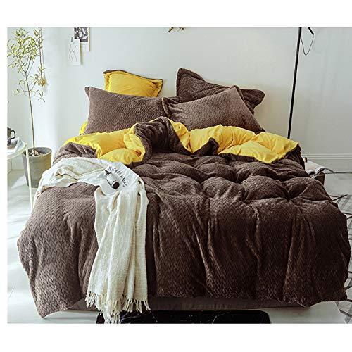 JXBoos Kristall-samt Plüsch Warme Bettbezug, 4pcs Anzug Bettzeug Set a Bettbezug Bettlaken Kissenbezug * 2 B bettdecke Rokoko-Stil-braun A Bett Breite (6.6 ft)