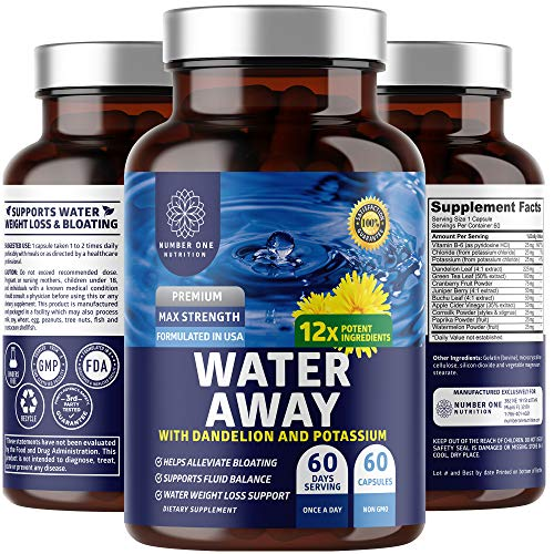N1N Premium Water Away Pills [12 Potent Ingredients] Natural Diuretic for Bloating Relief and Weight Loss with Dandelion, Vitamin B6 & Potassium, 60 Caps