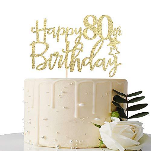 Gold Glitter Happy 80th Birthday Cake Topper