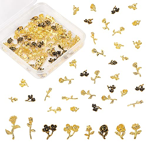OLYCRAFT 120 pezzi fiore a tema resina riempitivo lega resina accessori di riempimento metallo borchie chiodo charms rosa Filler Charms per la creazione di gioielli in resina - 6 stili