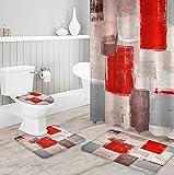 MQWEMJ Cortinas de Ducha, Pintado de Rojo Gris blanco150×180 cm con alfombras Antideslizantes, Tapa de Inodoro y Alfombrilla de baño, Cortina de Ducha con 12 Ganchos, Tela Impermeable