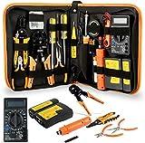 Kit d'outils d'installation ou de réparation de réseau, avec tournevis Pinces métalliques Pince à épiler Multimètre numérique DIY Home Household Toolkits for Daily