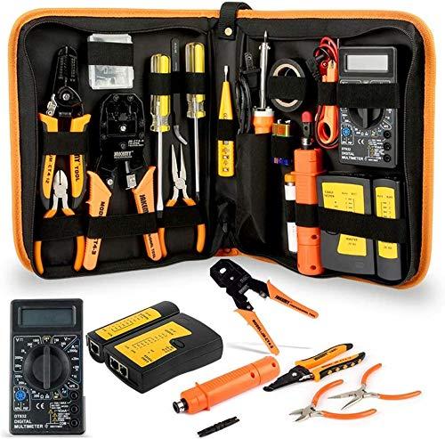 Kit de herramientas para reparaciones o instalaciones en red, con destornilladores, alicates de metal, pinzas, multímetro digital, kits de herramientas para el hogar, bricolaje, para uso diario