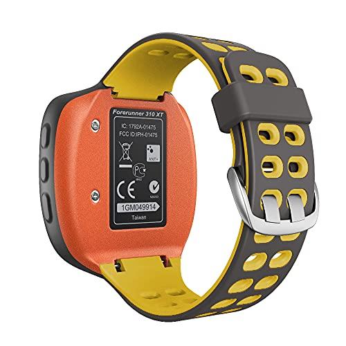 KINOEHOO Correas para relojes Compatible con Garmin Forerunner 310XT Pulseras de repuesto.Correas para relojesde silicona.(Gris claro + amarillo)