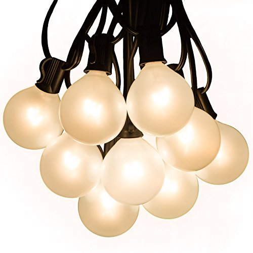 Hometown Evolution, Inc. White Pearl Outdoor Patio Globe String Lights (100 Foot, G50 White Pearl 2 Inch Bulbs - Black Wire)