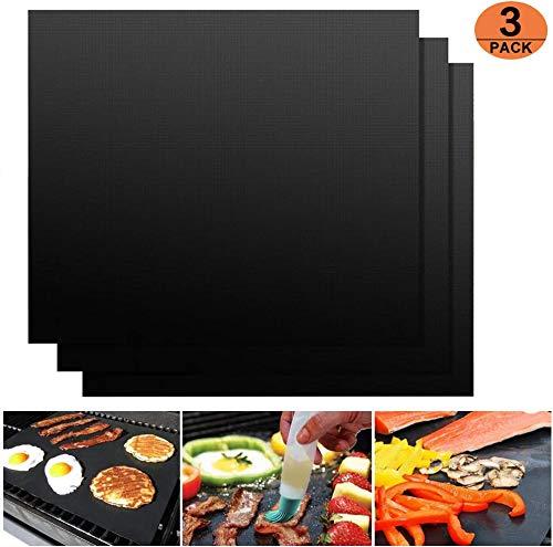 FMU BBQ Grillmatte 3er Set Antihaft Grillmatten Backmatte Wiederverwendbar Frei Toll über Kohle, Gas und Weber Style Grills Perfekt für Fleisch, Fisch und Gemüse 40x33 cm