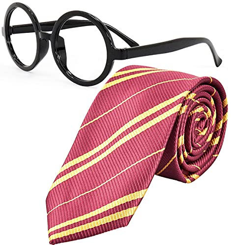 Striped Tie with Novelty Glasses Frame, for School Christmas Cosplay Costumes Accessories, Suit Kids Teens、Women and Men (Deep Red)