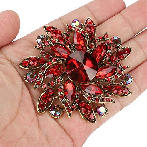 Vcriczk Broche de Diamantes, Insignia de Solapa, Decoraciones Modernas y Encantadoras Junto con Colores agradables y Brillo Diseño único caseros.(Red)