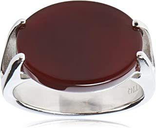 Sterling Silver Ring Malaki with Dark Red Stone for Men by ATIQ